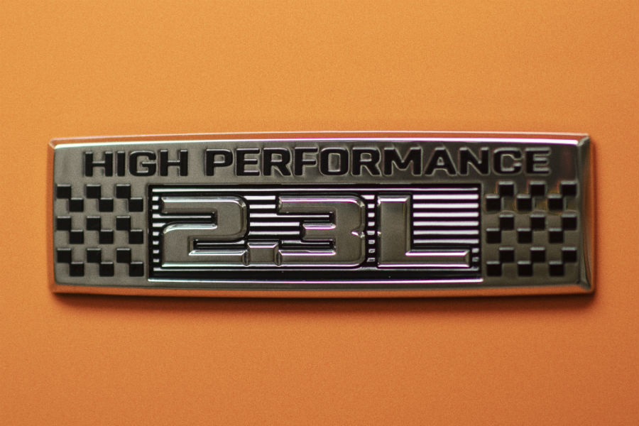 high performance badge on a 2020 Ford Mustang