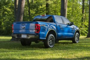 rear view of a blue 2020 Ford Ranger