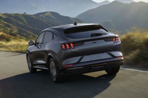 rear view of a gray 2021 Ford Mustang Mach-E