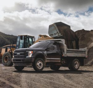 side view of a black 2020 Ford Super Duty Chassis Cab
