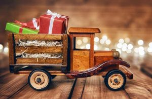 toy truck with Christmas presents