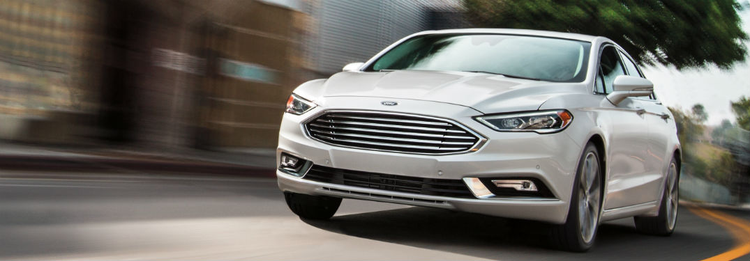 front view of a white 2020 Ford Fusion
