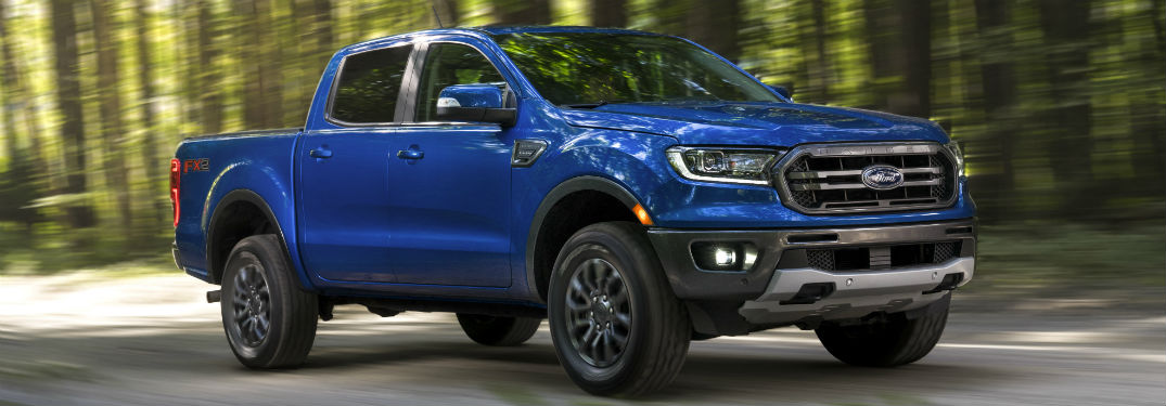 side view of a blue 2020 Ford Ranger