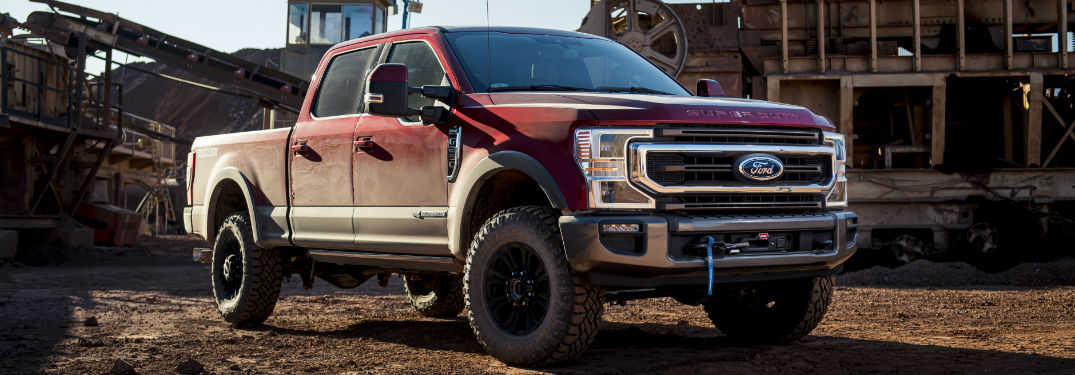side view of a red 2020 Ford Super Duty