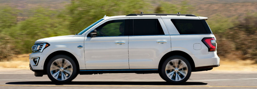 side view of a white 2020 Ford Expedition