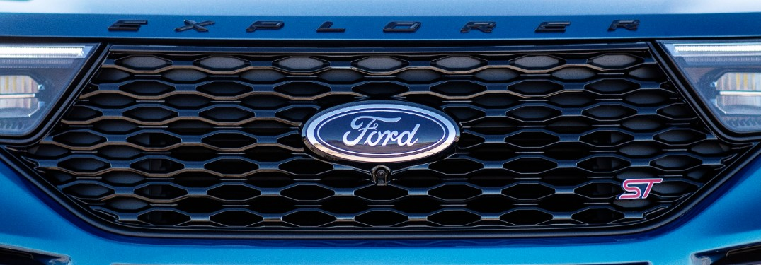 front grille on a blue 2020 Ford Explorer