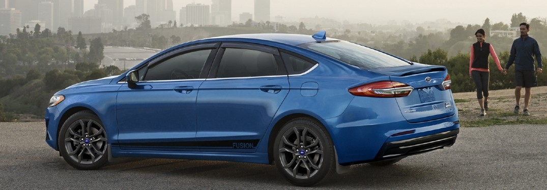 side view of a blue 2020 Ford Fusion