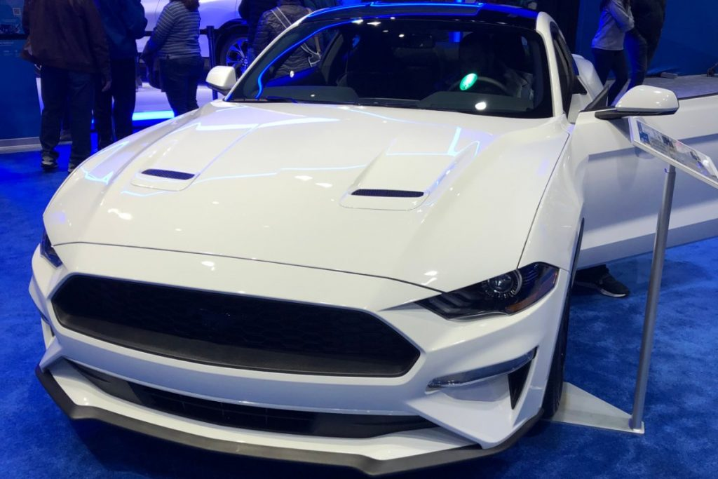 front view of a white 2020 Ford Mustang