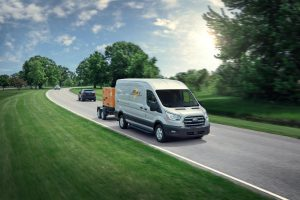 front view of a white 2020 Ford Transit