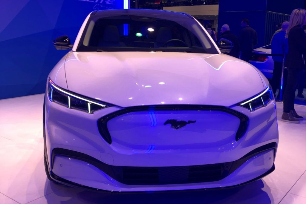 front view of a white 2021 Ford Mustang Mach-E