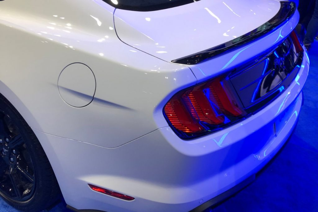 rear end of a white 2020 Ford Mustang