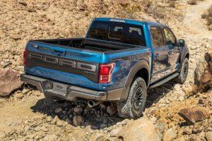 rear view of a blue 2020 Ford F-150 Raptor