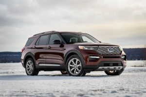 side view of a red 2020 Ford Explorer