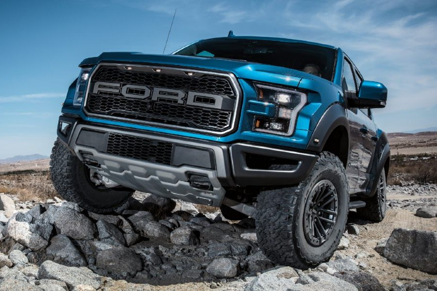 front view of a blue 2020 Ford F-150 Raptor