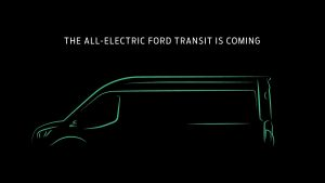 green neon outline of a 2022 Ford Transit