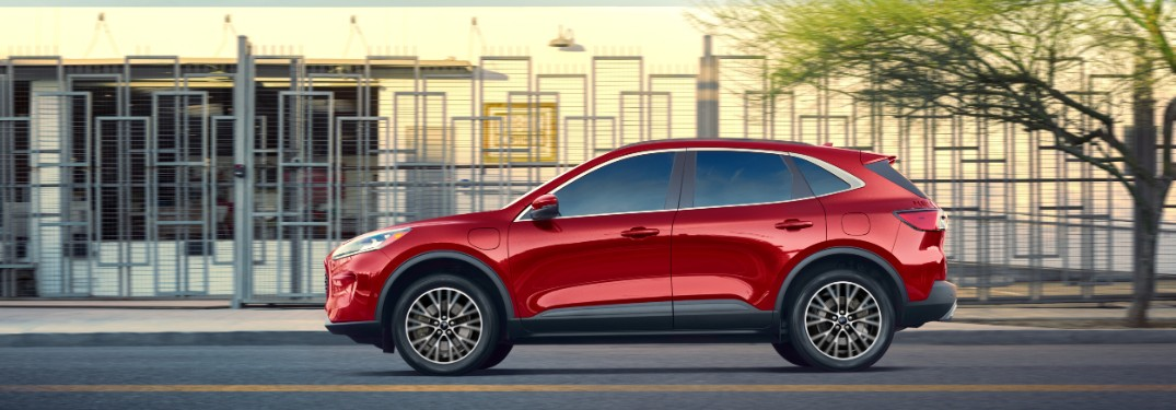 side view of a red 2020 Ford Escape Plug-In Hybrid