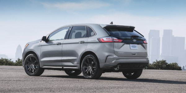 rear view of a silver 2020 Ford Edge ST-Line