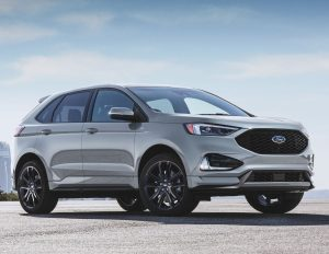 side view of a silver 2020 Ford Edge ST-Line