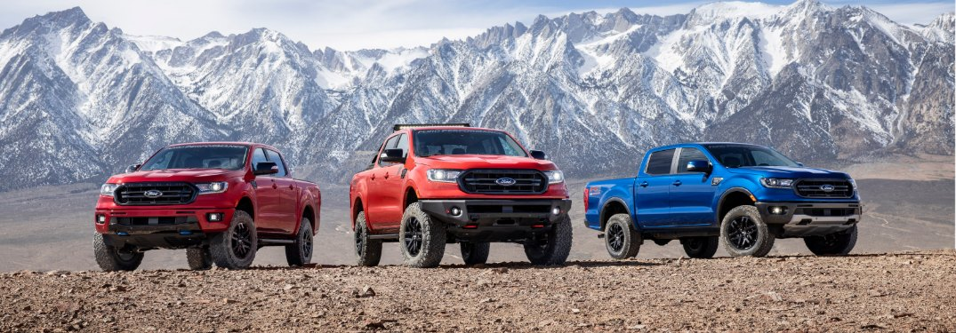three 2020 Ford Ranger trucks