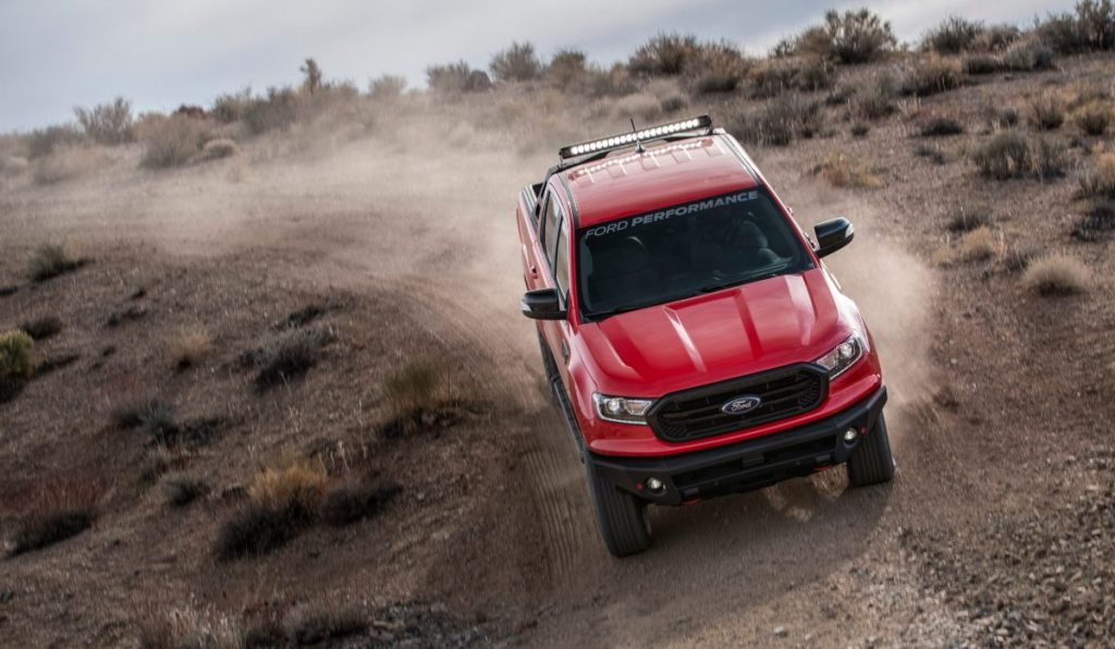 front view of a red 2020 Ford Ranger