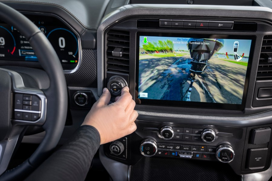 rear towing monitor in a 2021 Ford F-150