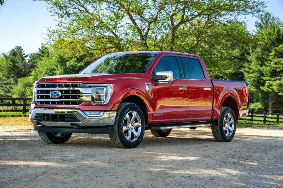 side view of a red 2021 Ford F-150
