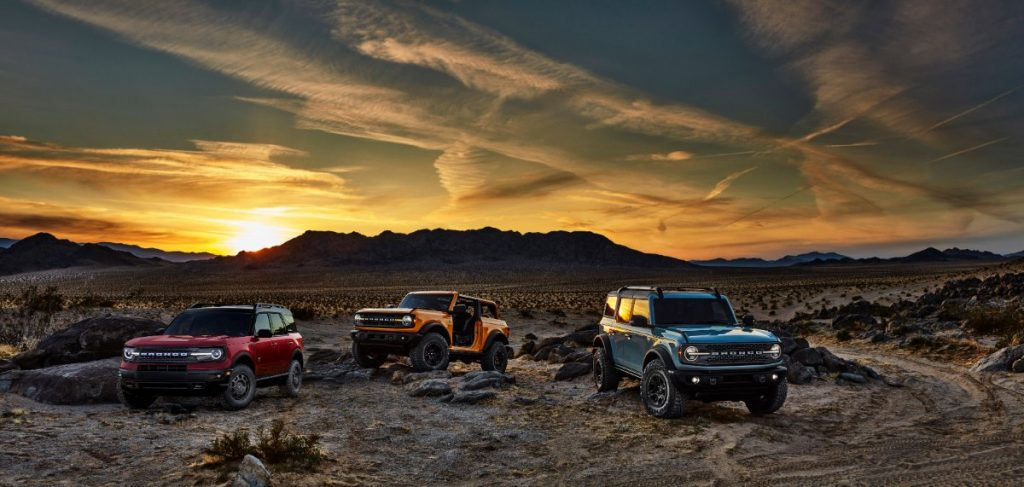 three 2021 Ford Bronco SUVs