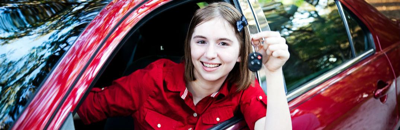 teen showing car keys