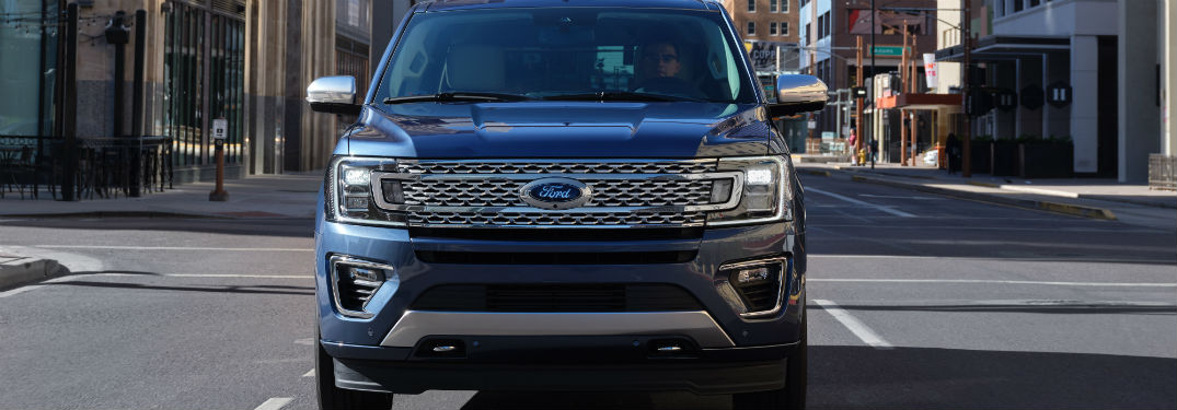front view of a blue 2020 Ford Expedition
