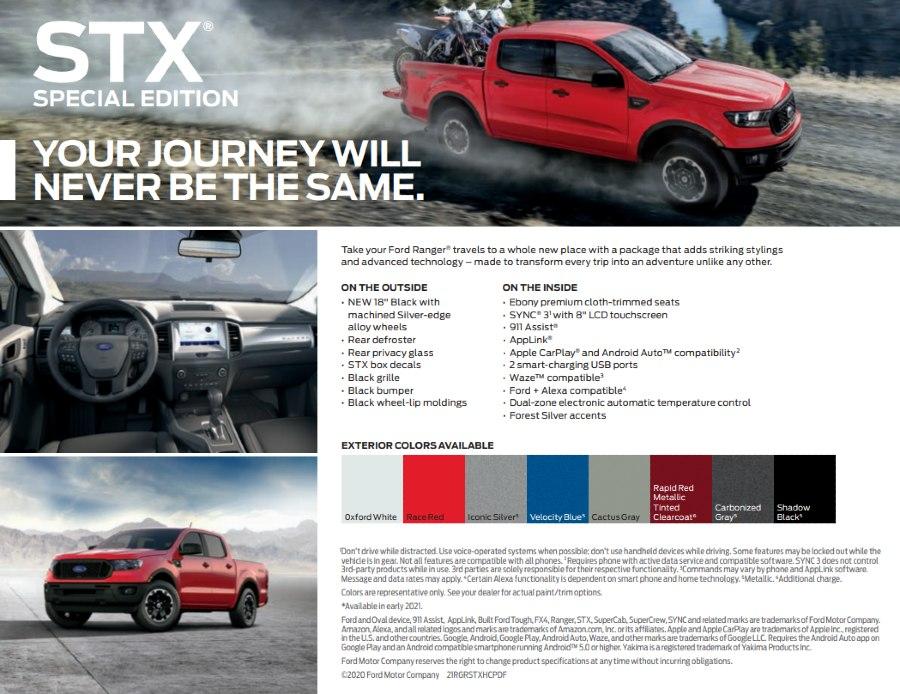 2021 Ford Ranger SXT Fact Sheet List