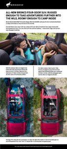 2021 Ford Bronco Camping fact sheet