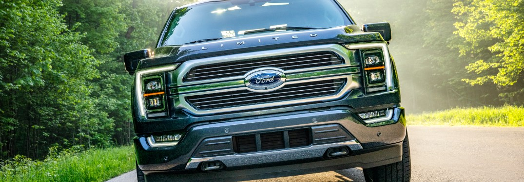 front view of a blue 2021 Ford F-150