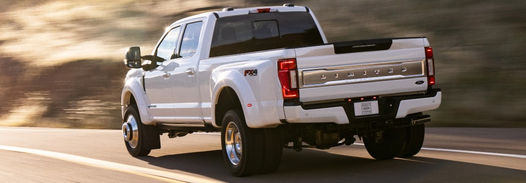rear view of a white 2021 Ford Super Duty