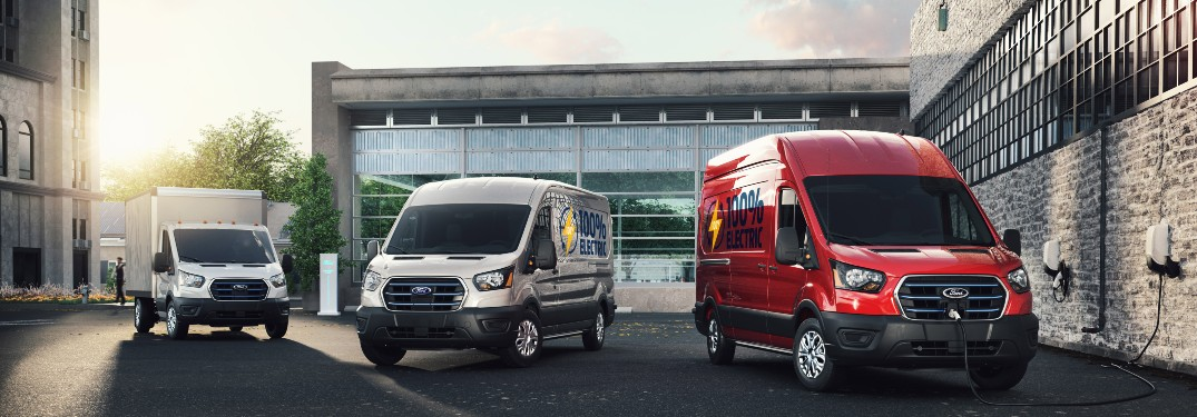 two Ford Transit models with a Ford E-Transit model