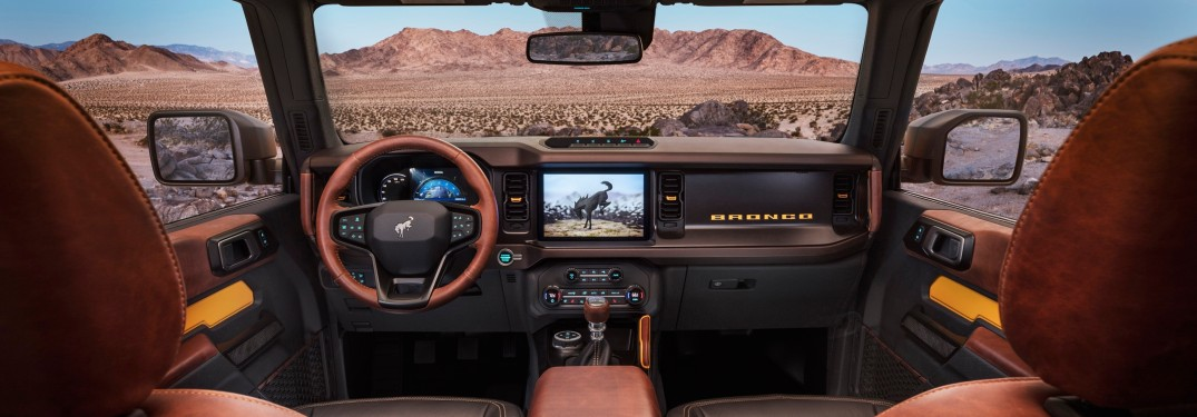 front interior of a 2021 Ford Bronco with a SYNC 4 infotainment system
