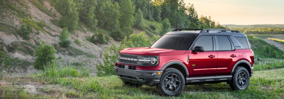 side view of a red 2021 Ford Bronco Sport