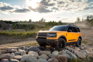 front view of a yellow 2021 Ford Bronco Sport