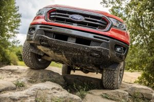 front end of a red 2021 Ford Ranger