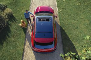top down view of a red 2021 Ford Escape