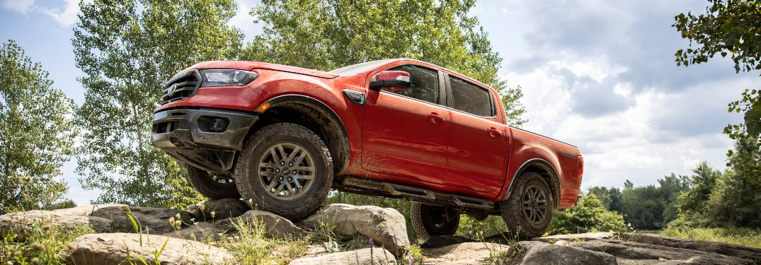 side view of a red 2021 Ford Ranger
