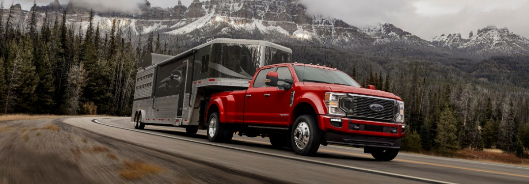side view of a red 2021 Ford Super Duty