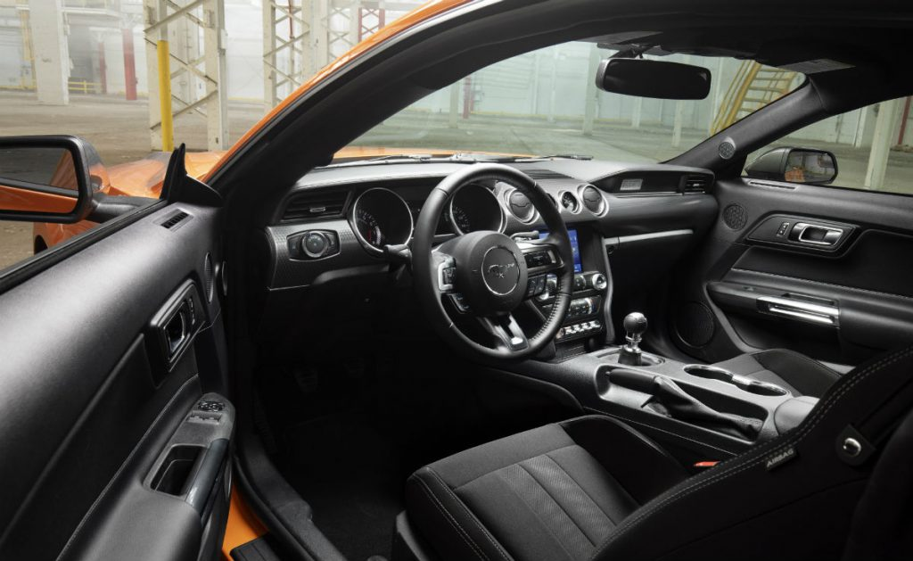 front interior of a 2021 Ford Mustang