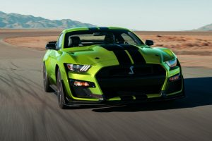 front view of a green 2021 Ford Mustang