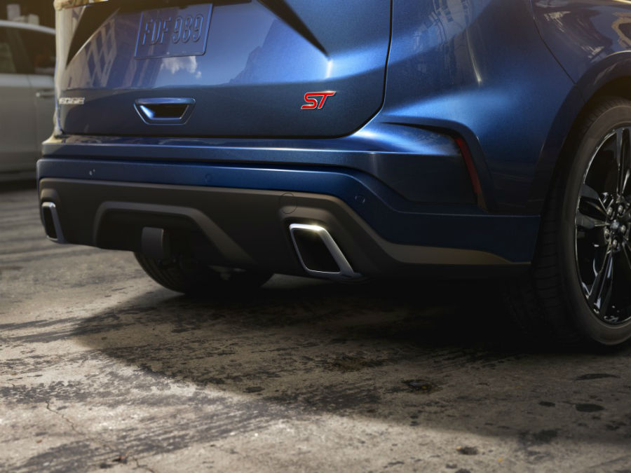 rear bumper of a blue 2021 Ford Edge ST