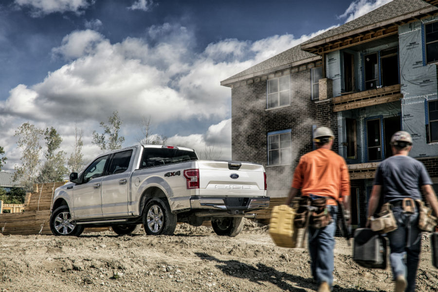 rear view of a silver 2021 Ford F-150 at a jobsite