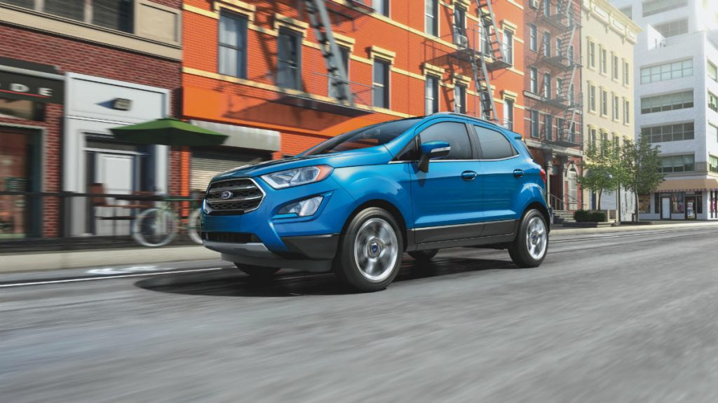 side view of a new blue 2021 Ford EcoSport