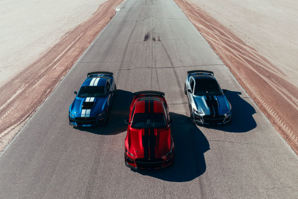 three-2021 Ford Mustang models