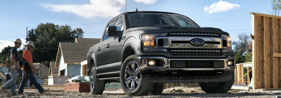 front view of a black 2021 Ford F-150