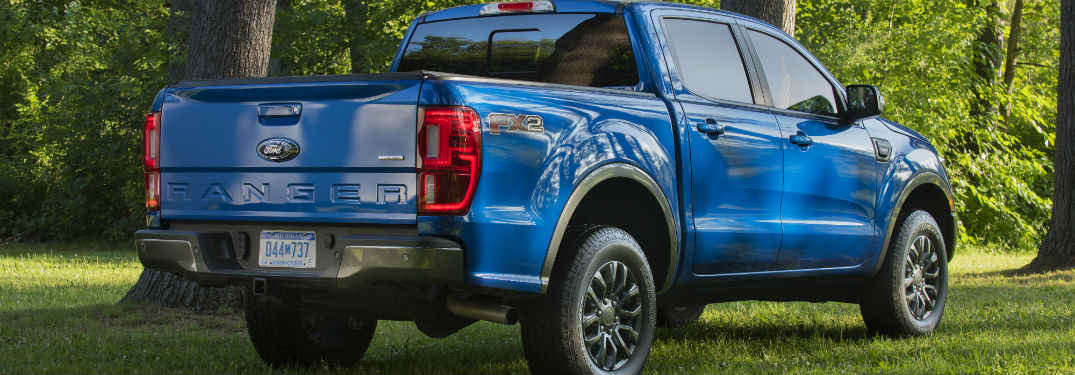 rear view of a blue 2021 Ford Ranger
