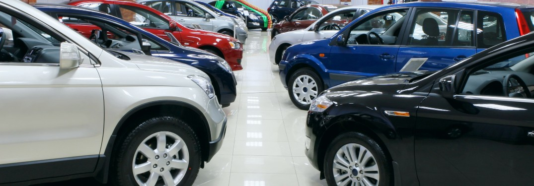 used cars in a showroom